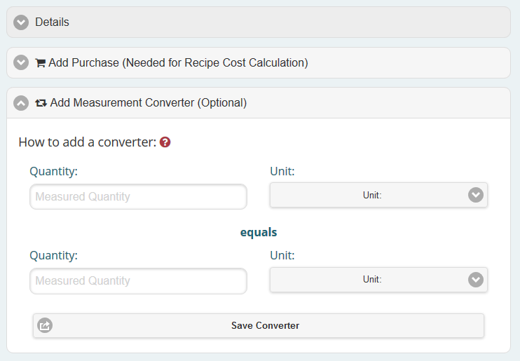 Add a converter to use different types of measurements on your recipes.