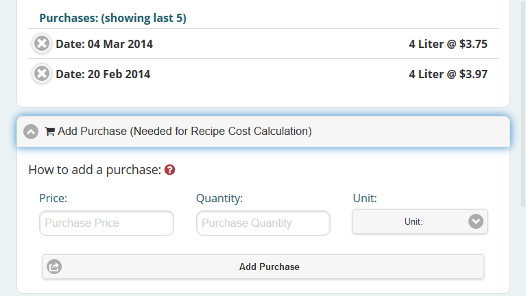 Add a purchase to ingredients to be able to calculate the recipe cost.