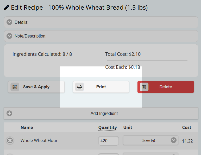 Printing the recipe in your browser.